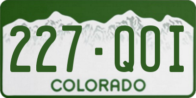 CO license plate 227QOI