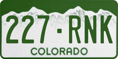 CO license plate 227RNK