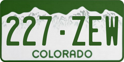 CO license plate 227ZEW