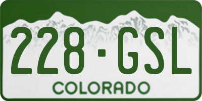 CO license plate 228GSL