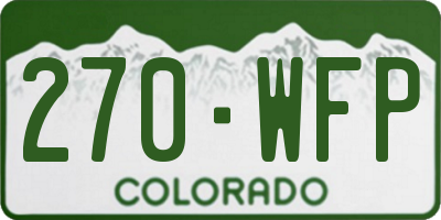 CO license plate 270WFP