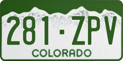 CO license plate 281ZPV