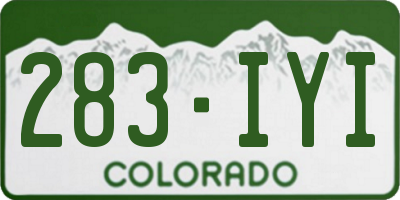 CO license plate 283IYI
