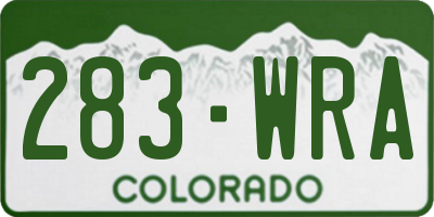 CO license plate 283WRA