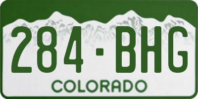 CO license plate 284BHG