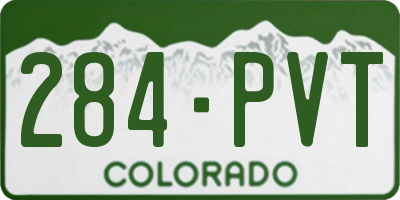 CO license plate 284PVT