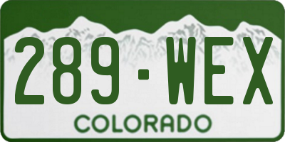 CO license plate 289WEX