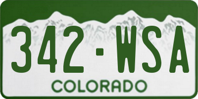 CO license plate 342WSA