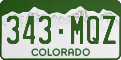 CO license plate 343MQZ