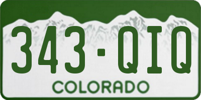 CO license plate 343QIQ