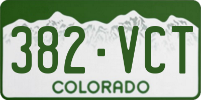 CO license plate 382VCT