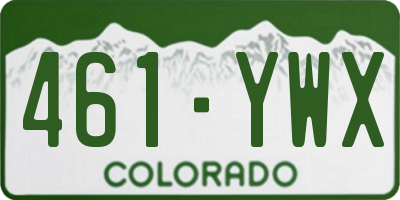 CO license plate 461YWX