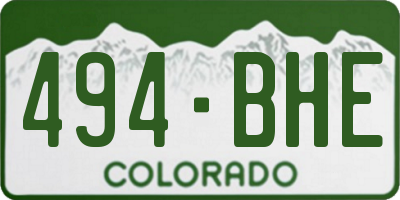 CO license plate 494BHE