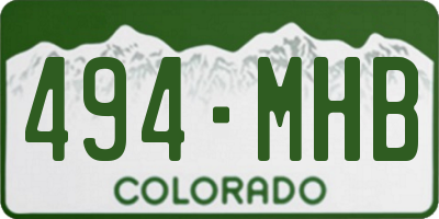 CO license plate 494MHB