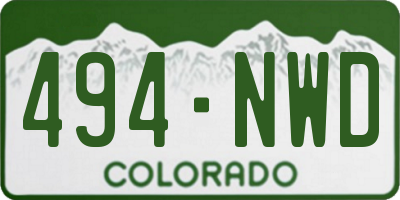 CO license plate 494NWD