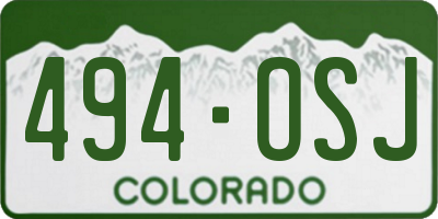 CO license plate 494OSJ