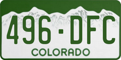 CO license plate 496DFC