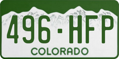 CO license plate 496HFP