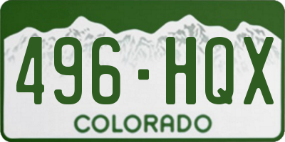CO license plate 496HQX