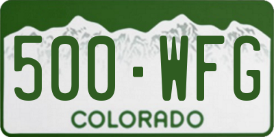 CO license plate 500WFG