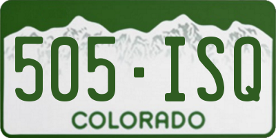CO license plate 505ISQ
