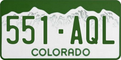 CO license plate 551AQL