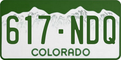 CO license plate 617NDQ