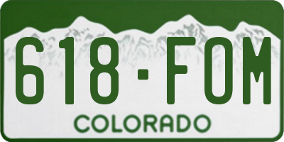 CO license plate 618FOM