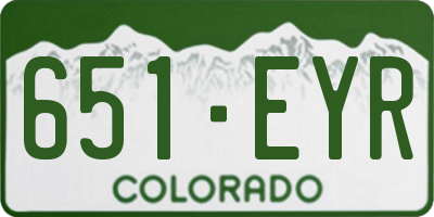 CO license plate 651EYR