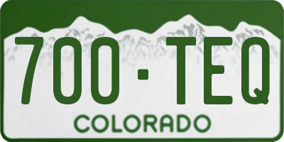 CO license plate 700TEQ