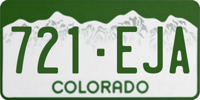 CO license plate 721EJA