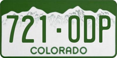 CO license plate 721ODP