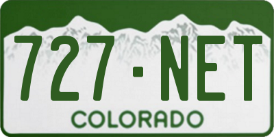 CO license plate 727NET