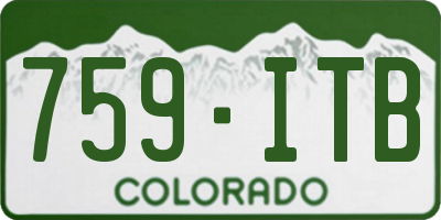 CO license plate 759ITB