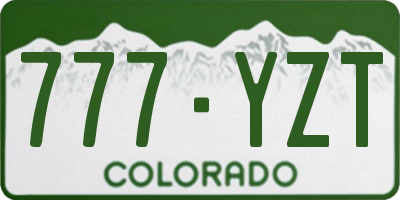 CO license plate 777YZT