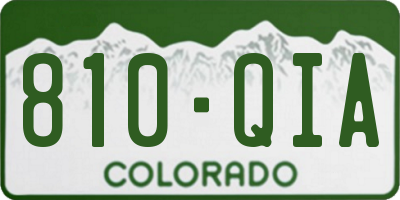 CO license plate 810QIA