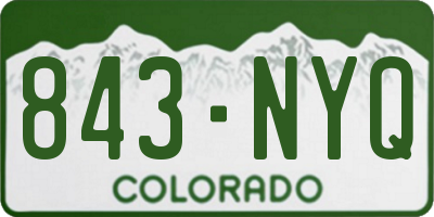 CO license plate 843NYQ