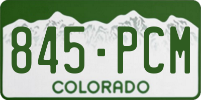 CO license plate 845PCM