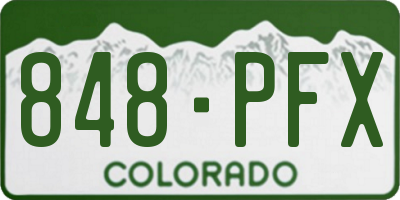 CO license plate 848PFX