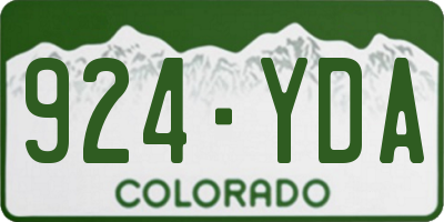 CO license plate 924YDA