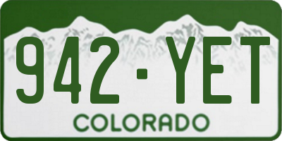 CO license plate 942YET