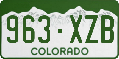 CO license plate 963XZB