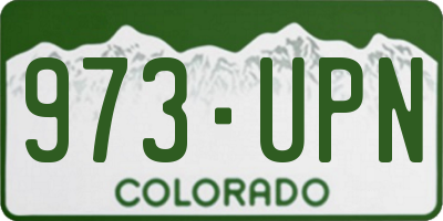 CO license plate 973UPN