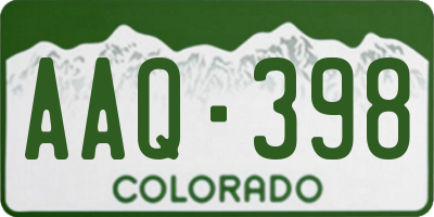 CO license plate AAQ398