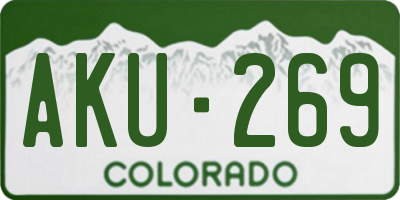 CO license plate AKU269