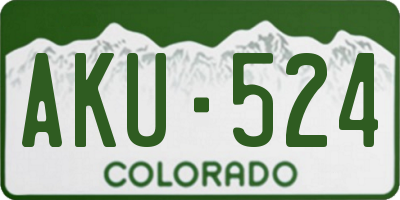 CO license plate AKU524