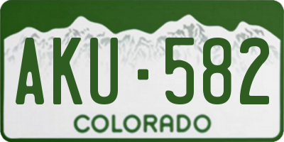 CO license plate AKU582