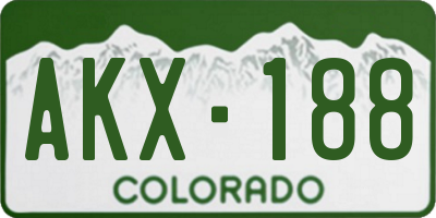 CO license plate AKX188