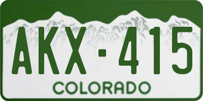CO license plate AKX415