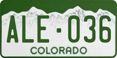 CO license plate ALE036